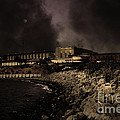 Nightfall Over Hard Time - San Quentin California State Prison - 5d18454 - Partial Sepia by Wingsdomain Art and Photography