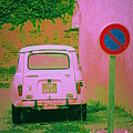 No Parking Sign With Pink Car by Lainie Wrightson
