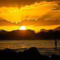 Noosa Sunset Paddle Board 1 by Tony Irving