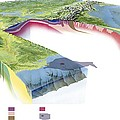 North American Geology And Oil Slick by Gary Hincks