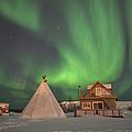 Northern Lights Above Village by Jiri Hermann