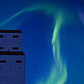 Northern Lights And Grain Elevator by Mark Duffy
