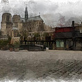 Notre Dame 1 Aquarell  by Wessel Woortman