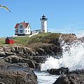 Nubble Lighthouse With Seagull And Ocean Spray by Martin Rogers