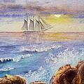 Ocean Waves And Sailing Ship by Irina Sztukowski