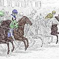 Odds Are - Tb Horse Racing Print Color Tinted by Kelli Swan
