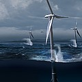 Offshore Wind Farm In A Storm, Artwork by Claus Lunau