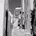 Oia Staircase Bw by Jenny Hudson