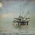 Oil Platform Under The Moon Textured by Susan Gary
