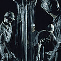 Oilmen Covered In Mud Pull Up A Drill by David Boyer