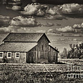 Old Barn After The Storm Black And White by Jim And Emily Bush