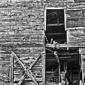 Old Barn Door In Black And White by Debra and Dave Vanderlaan
