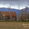 Old Barn In Southern Oregon With Text by Mick Anderson