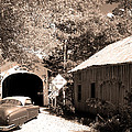 Old Car Older Barn Oldest Bridge by Randall Branham