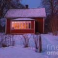 Old-fashioned House At Sunset In Winter by Kathleen Smith