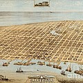 Old Galveston Map by Pg Reproductions