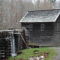 Old Grist Mill With Snow by Carrie Munoz