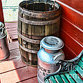 Old Milk Cans And Rain Barrel. by Paul Ward