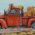 Old Red Truck Going Down The Road by Bobbylee Farrier