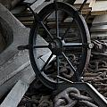 Old Ships Wheel, Chains And Wood Planks by Todd Gipstein