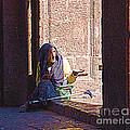Old Woman In Centro by John  Kolenberg