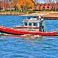On Patrol At The Erie Basin Marina  by Michael Frank Jr