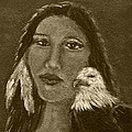 Onawa Native American Woman Of Wisdom With Eagle In Sepia by The Art With A Heart By Charlotte Phillips