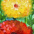 One Yellow One Red And Orange Flower Shines by Ashleigh Dyan Bayer