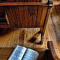 Open Book On Church Pew by Jill Battaglia