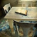 Open Book On Old Table by Jill Battaglia