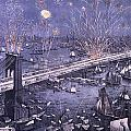 Opening Of The Great New York And Brooklyn Bridge And Grand Display Of Fire Works by American School