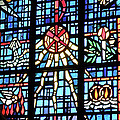 Orange Blue Stained Glass Window by Thomas Woolworth