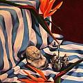 Orange Flowers And Blue Cloth by Jolante Hesse