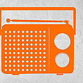 Orange Transistor Radio by Naxart Studio