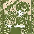 Organic Farmer With Basket Harvest Crops Retro by Aloysius Patrimonio