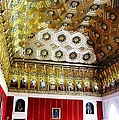 Ornate Hall Golden Ceiling Work Of Miniature King Statues In Segovia Castle Spain by John Shiron