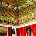 Ornate Hall Golden Ceiling Work Of Miniature King Statues Red Wall In Segovia Castle Spain by John Shiron