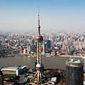 Overhead View Of Oriental Pearl Tower In Shanghai by Roy Hsu