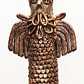 Owl Totem Bronze Gold Color Wings Beak Hair Penetrating Eyes  Scales Feathers   by Rachel Hershkovitz