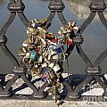Padlocks On Bridge. Rome by Bernard Jaubert