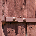 Painted Red Iron Hinge On A Red Barn Door by David Letts