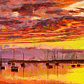 Painting With Boats At Sunset Tnm by Vincent DiNovici