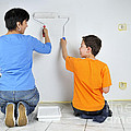 Paintwork - Mother And Son Painting Wall Together by Matthias Hauser