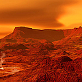 Panorama Of A Landscape On Venus At 700 by Ron Miller