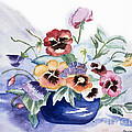 Pansies In Blue Pot by Barbara McMahon