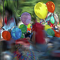 Parade-portrait Of An Unknown Man In A Balloon With Butch The Clown by Anne Cameron Cutri
