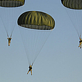 Paratroopers Descend Through The Sky by Stocktrek Images