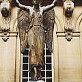 Paris Courtyard Musee Carnavalet Angel Statue - Victory Allegorical Angel Statue by Kathy Fornal
