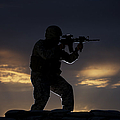 Partially Silhouetted U.s. Marine by Terry Moore