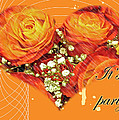 Party Invitation - Orange Roses by Mother Nature